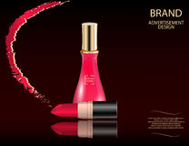 Glamorous perfume glass bottle and red lipstick on the sparkling effects background. Royalty Free Stock Image