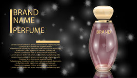 Glamorous perfume glass bottle on the sparkling effects background. Stock Photography