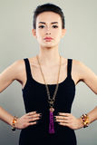 Glamorous Portrait of Beautiful Woman Fashion Model with Jewelry Royalty Free Stock Images