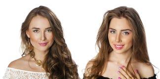 Glamorous portrait of two young beautiful women Stock Photos