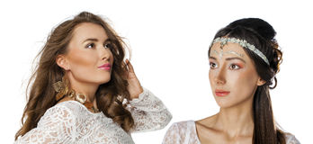 Glamorous portrait of two young beautiful women Royalty Free Stock Photo