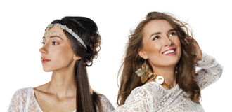 Glamorous portrait of two young beautiful women Royalty Free Stock Photos