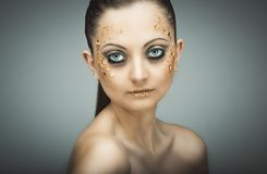 Glamorous portrait of young beautiful girl with big blue eyes, l Royalty Free Stock Photo