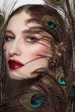 Glamorous portrait of young beautiful woman stock photography