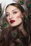 Glamorous portrait of young beautiful woman stock image