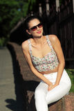 Glamorous portrait. Of young woman in sunglasses. Lifestyle outdoor portrait Stock Photography