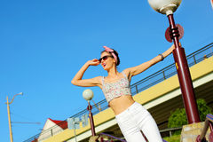 Glamorous portrait. Of young woman in sunglasses. Lifestyle outdoor portrait Stock Photos