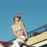 Glamorous portrait. Of young woman in sunglasses. Lifestyle outdoor portrait Royalty Free Stock Images