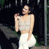 Glamorous portrait. Of young woman in sunglasses. Lifestyle outdoor portrait Royalty Free Stock Photos