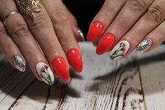 glamorous red manicure Royalty Free Stock Images