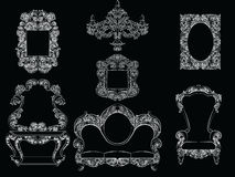 Glamorous Rich Baroque Rococo Furniture set. French Luxury rich carved ornaments furniture. Vector Victorian exquisite Style decor Royalty Free Stock Photo