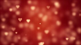 Glamorous romantic background with red hearts. Valentine`s card. Soft focus and depth of field. Symbol of love. 3D animation.
