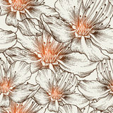 Glamorous seamless background with blooming flower. S, hand drawing. Vector illustration. eps10 Royalty Free Stock Image
