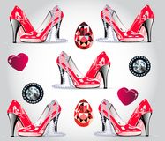 Glamorous seamless patern. Red patent shoes, hearts, diamonds, rubies, a pearl necklace.  vector illustration