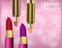 Glamorous Set of tubes with colour lipstick and balm on the sparkling effects background. Stock Photography