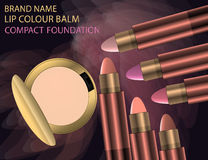 Glamorous Set of tubes with lip colour balm and compact powder o. N the  sparkling effects background. Mockup 3D Realistic Vector illustration for design Stock Photography