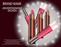Glamorous Set of tubes with lip gloss and lip balm on the sparkling effects background. Mock-up 3D Realistic Vector illustration for design, template Royalty Free Stock Image