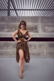 Glamorous woman in animal print outfit maxi dress Stock Images