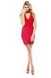 Glamorous sexy woman in a trendy red dress Stock Photography