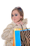 Glamorous shopping woman Royalty Free Stock Images