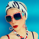 Glamorous summer lady. Vacation, Sea, Marine style Royalty Free Stock Photos