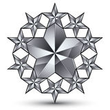 Glamorous vector rounded template with pentagonal silvery stars, Stock Photography