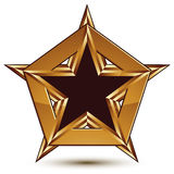 Glamorous vector template with pentagonal black star, golden Royalty Free Stock Photos