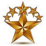 Glamorous vector template with pentagonal golden star symbol, be Royalty Free Stock Photos