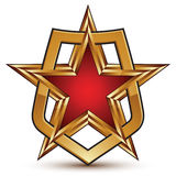 Glamorous vector template with pentagonal golden star symbol Stock Photo