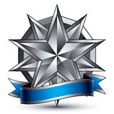 Glamorous vector template with polygonal silver star symbol Royalty Free Stock Image