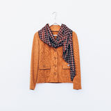 Glamorous vintage. Ladies jacket and scarf. Combination brown sh Stock Photo