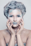 Glamorous Winter Fashion Model Woman with Glitters Makeup Stock Images