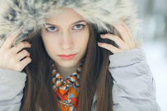 Glamorous winter portrait of a girl. Outside Royalty Free Stock Photos