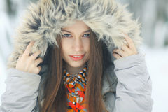 Glamorous winter portrait of a girl Stock Photography