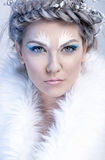 Glamorous winter woman in fur Stock Photos
