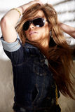 Glamorous woman. Glamorous young sexy woman in sunglasses Royalty Free Stock Photo