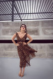 Glamorous woman in animal print outfit maxi dress Stock Photos