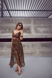 Glamorous woman in animal print outfit maxi dress Royalty Free Stock Images