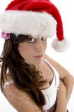 Glamorous woman with christmas hat Royalty Free Stock Photography