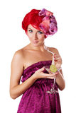 Glamorous woman with cocktail Stock Images