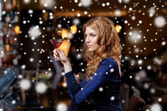 Glamorous woman with cocktail at night club or bar. People, party, nightlife, drink and holidays concept - glamorous woman with cocktail at night club or bar Royalty Free Stock Images