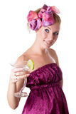 Glamorous woman with cocktail Royalty Free Stock Image