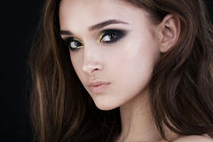 Glamorous Woman Fashion Model. Face Closeup Stock Photography