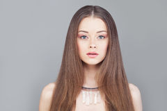 Glamorous Woman Fashion Model with Long Hair Stock Photo