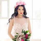 Glamorous Woman Fashion Model with Makeup. And Flowers Royalty Free Stock Photos