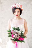 Glamorous Woman Fashion Model with Makeup and Flowers. Arrangement Royalty Free Stock Photo