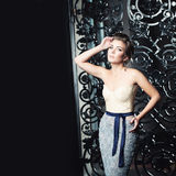 Glamorous Woman in Fashionable Dress Royalty Free Stock Images