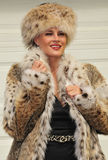Glamorous woman in fur coat and hat stock image