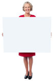 Glamorous woman holding blank ad board Stock Photos