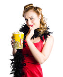 Pinup woman holding popcorn Royalty Free Stock Photos